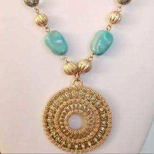 Lia Sophia turquoise and gold necklace EUC